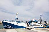 Commercial fishing boat, Limassol marina, Cyprus - Stock Image - E9YYRR