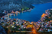 Panoramic view of the village and harbor of Kastellorizo island from the path that goes to Saint George Monastery. Greece - Stock Image - C478AB