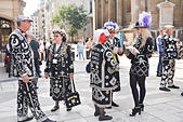 Guildhall Yard, London, UK. 28th September 2014. Pearly Kings & Queens at the annual  London Pearly Kings & Queens Society Costermongers Harvest Festival Parade Service held in Guildhall Yard. © Matthew Chattle/Alamy Live News - Stock Image - E812YE
