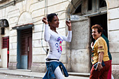 A girl dances in the streets of Havana Cuba - Stock Image - BNGH2N
