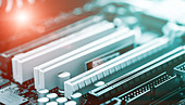 printed circuit board and the red LED - Stock Image - DE7ADN