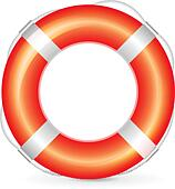 Realistic red lifebuoy with rope on white background - Stock Image - DNNNJ9