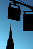 Graphic Scene of the Empire State Building in New York City USA It is Silhouetted Against a Blue Sky Copy Space - Stock Image - B4BFGF