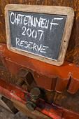 tank door sign on tank 2007 reserve domaine roger sabon chateauneuf du pape rhone france - Stock Image - C0TDX2