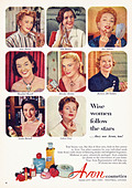 Original 1950s full page advertisement in American consumer magazine for AVON COSMETICS featuring film stars of the period - Stock Image - C04KY2