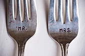 Close-up of Mr. and Mrs. Forks at Wedding, Muskoka, Ontario, Canada - Stock Image - CNNG6W