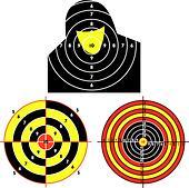Set targets for practical pistol shooting, exercise. Vector illustration - Stock Image - DNKXN6