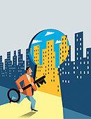 Businessman carrying large key entering bright city through keyhole - Stock Image - E9XXKE