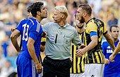 epa04335832 Chelsea's Diego Costa (L) argues with Vitesse Arnhem player Guram Kashia (R) during a friendly soccer match between Vitesse Arnhem and Chelsea FC in Arnhem, Netherlands, 30 July 2014.  EPA/ROBIN VAN LONKHUIJSEN - Stock Image - E5JKDP