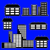 different kind of houses and buildings - Vector Illustration - Stock Image - DNKWYG