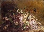 """fine arts, Scholderer, Otto (1834 - 1902), painting, """"Stillife with Lilac"""" (""""Fliederstilleben""""), circa 1860, Lindenau Museu - Stock Image - BD66H4"""