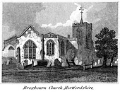 "An engraving entitled "" Broxbourn Church, Hertfordshire "" scanned at high resolution from a book published in 1825. - Stock Image - D5CAB7"