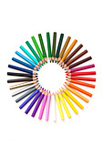 set of pencils forming a colour wheel - Stock Image - BXPB6D