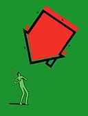 House falling towards surprised man - Stock Image - C2T2GW