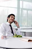 A businessman on his lunch break, talking on a mobile phone - Stock Image - B7MNAB