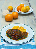 Ossobuco alla milanese (Braised slices of shin of veal) - Stock Image - BD5B0T