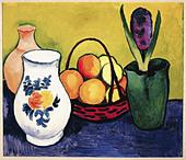 """""""fine arts, Macke, August (1887 - 1914), """"Weisser Krug mit Blumen und Früchten"""", painting, Tegernsee, 1910, oil on canvas, 52x - Stock Image - A7WDPK"""