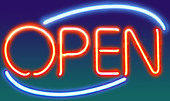 neon open sign - Stock Image - AM50A9