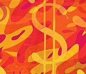 Abstract pattern with snake as dollar sign - Stock Image - C2T2NW