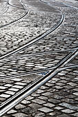 Tram tracks and cobbled street, Bremen, Germany - Stock Image - E6RATX