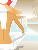 A woman sitting by a pool - Stock Image - BYB3WY