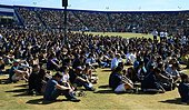 epa04228911 Over 18,000 people, mostly students, attend a memorial event for the six UCSB students killed and 13 wounded in a shooting rampage in the college town of Isla Vista, at Harder Stadium at the University of California in Goleta, California, USA, 27 May 2014. The suspected gunman, 22-year-old student Elliot Rodger, killed six people and wounded 13 as he drove through the college town shooting as well as running over victims in his BMW car before he died from a self-inflicted wound. Over 18,000 people mainly students attended the memorial service.  EPA/MICHAEL NELSON - Stock Image - E1CHKA