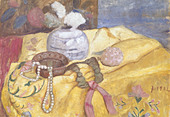 fine arts, Modersohn-Becker, Paula (1876 - 1907), painting, still life pearl necklace, 1902, Lower Saxon State Gallery, Hannover - Stock Image - AMDJ2M