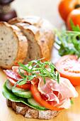 Ham sandwich - Stock Image - CB3C7W