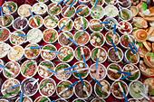 China, Hong Kong, Stanley Market, Souvenir Keyrings of Chinese Bowls of Food - Stock Image - CB48WB