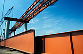 Steel girders on overpass construction site - Stock Image - AYND8F