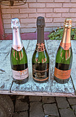 3 bottles of sparkling wine made at Georges Aubert Winery, Bairro Cairu, Garibaldi, southern Brazil - Stock Image - AXD52Y
