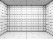 white mental hospital padded room empty with copy space - Stock Image - CBHND2