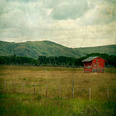 A red shack in a dark moody field with storm clouds - Stock Image - D4J4M7