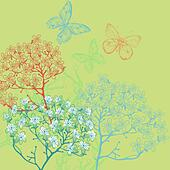vector illustration of blooming plants on a green background - Stock Image - DKHK0G