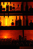 Silhouette of Back Lit Bottles of Liquor on Shelves with Copy Space - Stock Image - AJXMMR