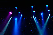 Colorful Stage Lights at a Theater with Copy Space - Stock Image - AJWPWN