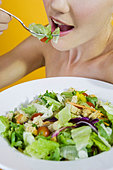 A Young Woman Eating Salad - Stock Image - BG9HXN