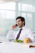 A businessman on his lunch break, talking on a mobile phone - Stock Image - B7MNA7