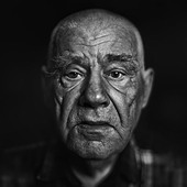Close up of Senior Caucasian man's face - Stock Image - DTTB3W