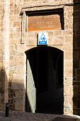 Doorway to the International Youth Hostel in the old Evkaf Dairesi Bekir Pasa Su Idaresi building, Larnaca, Cyprus. - Stock Image - E9YYT4
