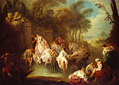 Bathing Party in a Park by Jean - Baptiste Pater, c.1730s Painting. French painter, 29 December 1695 - 25 July 1736.  Courtesy - Stock Image - B0DT35