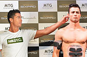 """Cristiano Ronaldo, Real Madrid, July 8, 2015, Tokyo, Japan : Real Madrid footballer Cristiano Ronaldo(L) attends the press conference for MTG's Cyber Clone at the Maru Cube of Marunouchi Building in Tokyo, Japan, on July 8, 2015. MTG's Cyber Clone is clone robot as collaborate with American special effects studio """"Legacy Effects"""" and 3D printing equipment company """"Stratasys"""". © AFLO/Alamy Live News - Stock Image - EX6BEJ"""