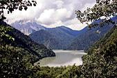 Lake Ritsa in Caucasus - Stock Image - BPCA7R
