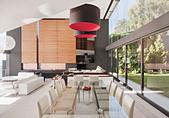 Modern dining room and open floor plan - Stock Image - DTKGA0