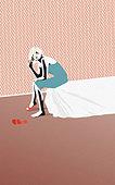 Drunk woman sitting on edge of bed - Stock Image - BEWG1N