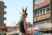 A punk girl 'Rae Ray Riots' with a large Mohican, Shoreditch, London, UK .2009 - Stock Image - BDBX18