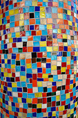Closeup Detail of Vibrantly Colored Tiled Column - Stock Image - B4BFNK