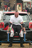 Blackpool, UK. 20th June, 2015. A very wet day but the rain does'nt stop the Blackpool strongest man competition from taking place but the truck pull is dropped because of the wet conditions.©Gary Telford/Alamy live news - Stock Image - EW8RYA