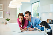 Couple using laptop with dog at table - Stock Image - D5WYFM