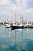 yachts in Zygi harbour, Cyprus - Stock Image - E9YYTD